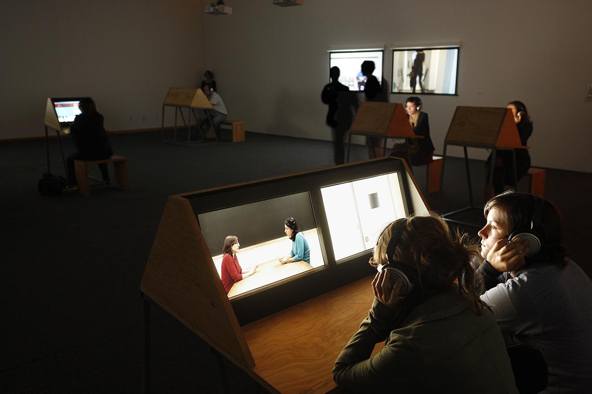"installation view, ""9 Scripts from a Nation at War"", Andrea Geyer, Sharon Hayes, Ashley Hunt, Katya Sander, David Thorne, 2007 / MoMA, Spring 2012"