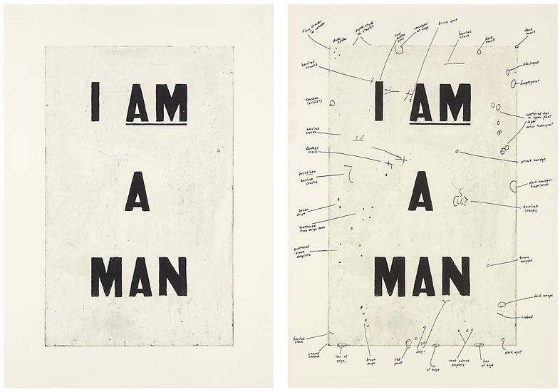 Glenn Ligon, Condition Report, 2000, Iris print and Iris print with serigraph, 2 parts, Edition of 20, 32 x 22.75 inches each