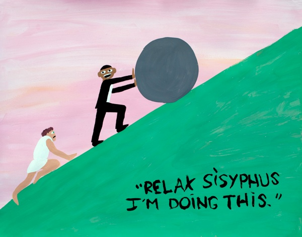 Sisyphus  (Barack Obama Battles the Pink Robots), Jayson Musson, 2009, tempara on paper, 19 x 24 inches