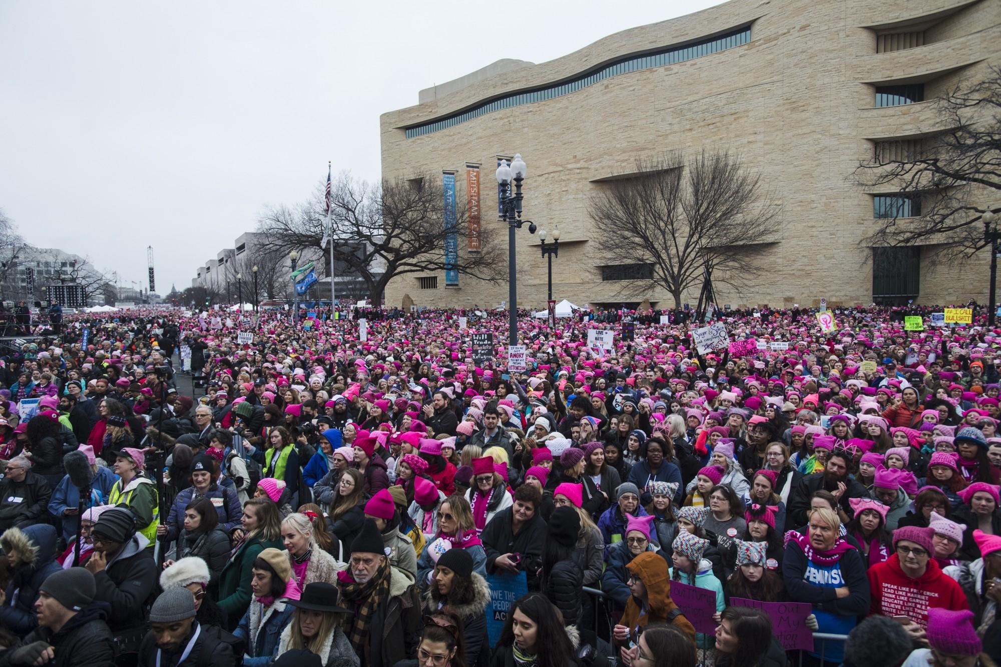 Crowds of people descend on Washington. Amanda Voisard / The Washington Post