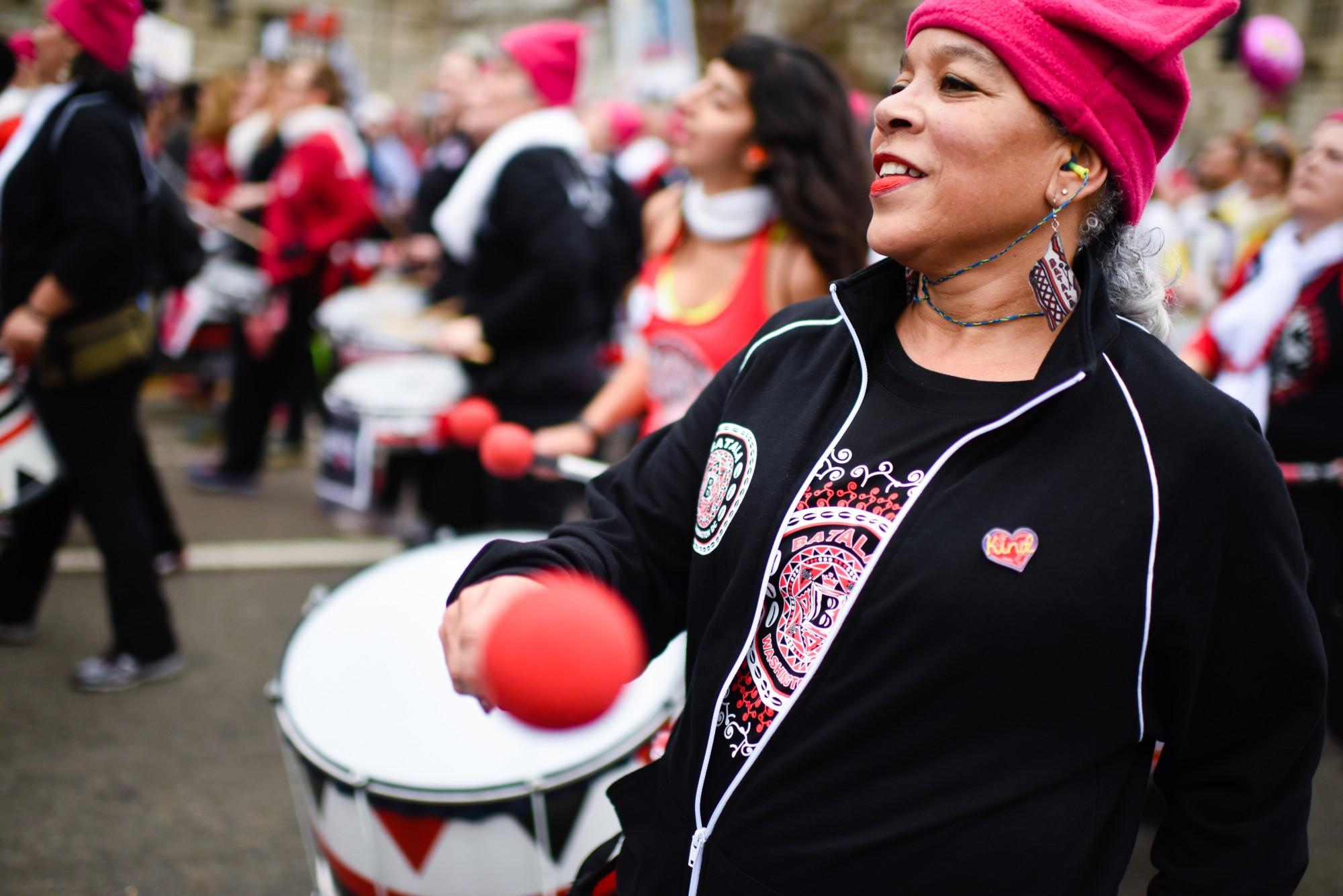 Batalá Washington, an all female Afro-Brazilian percussion band, marches down Constitution Avenue. Sarah L. Voisin / The Washington Post