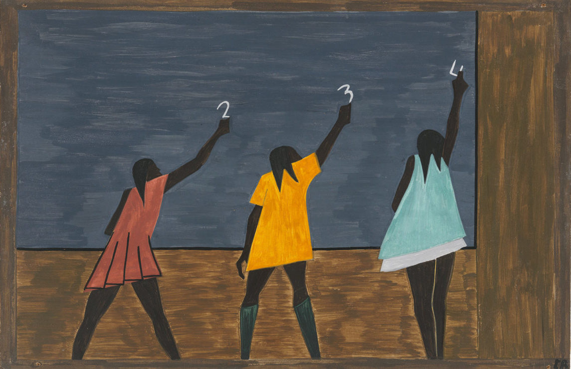 Jacob Lawrence, Migration Series, Panel 58, 1941 - 1941 caption: In the North the Negro had better educational facilities. 1993 caption: In the North the African American had more educational opportunities.