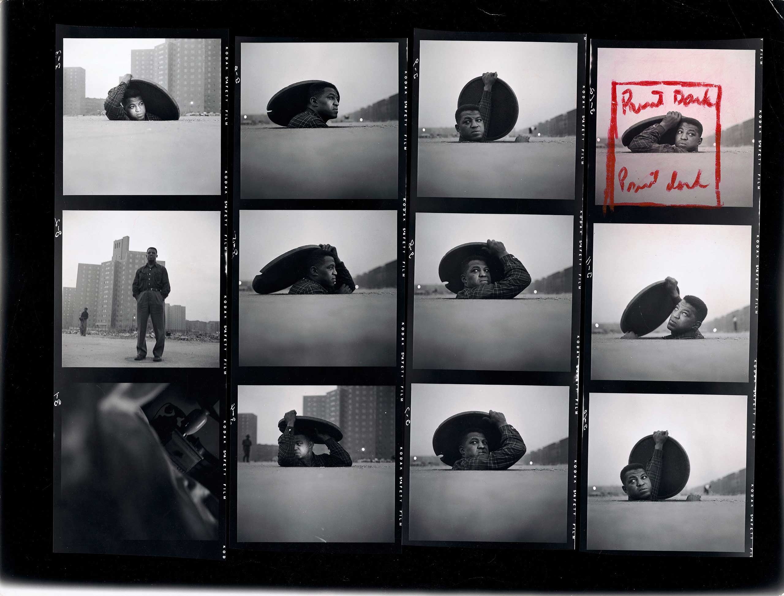 "Contact Sheet, ""A Man Becomes Invisible,"" Life story no. 36997, 1952. The Gordon Parks Foundation"